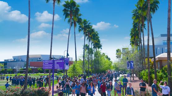 view of GCU campus walkway