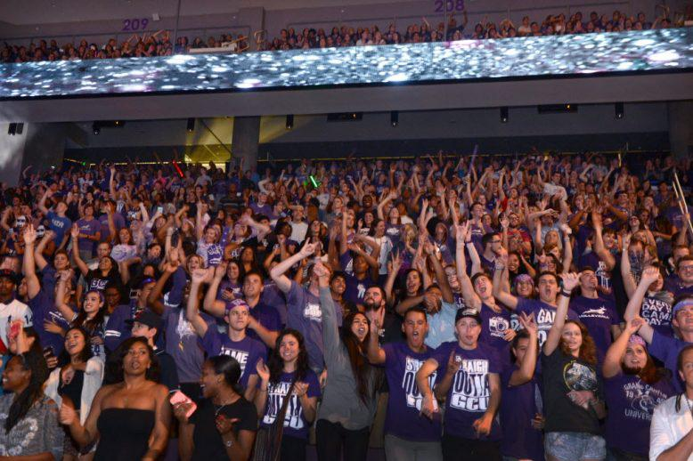The GCU student section at a basketball game