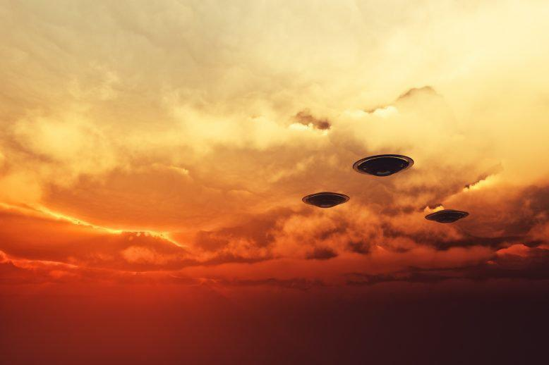 two spaceships in the sky