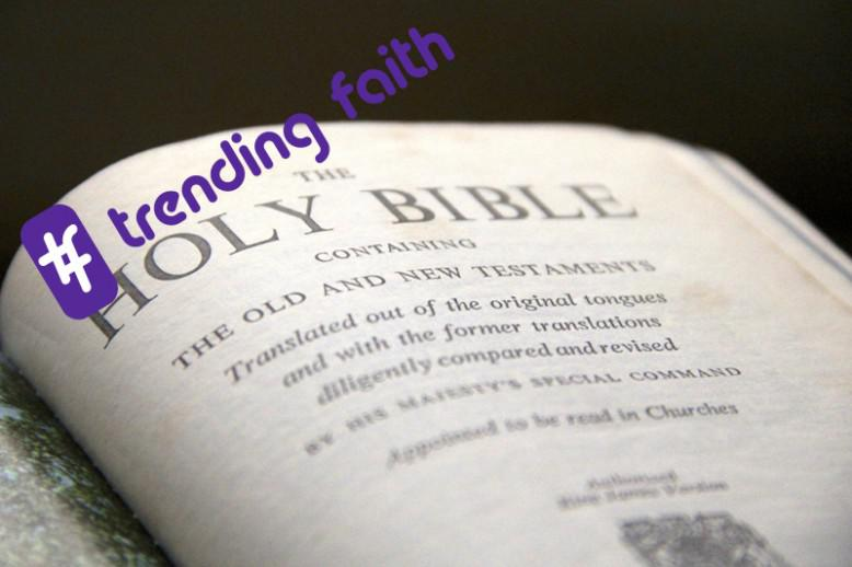 A Bible open to the Old Testament with the Trending Faith logo