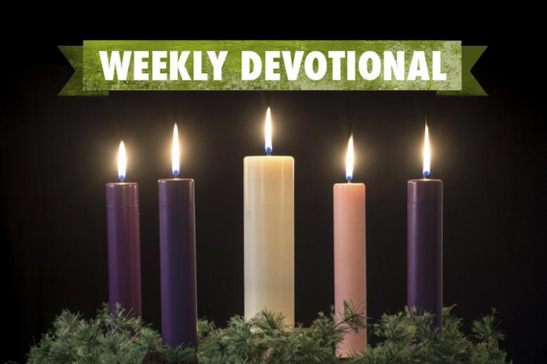Weekly devotional banner under a set of five candles