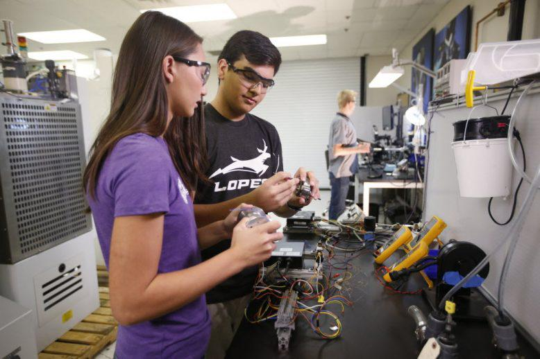 GCU engineering students working on a project