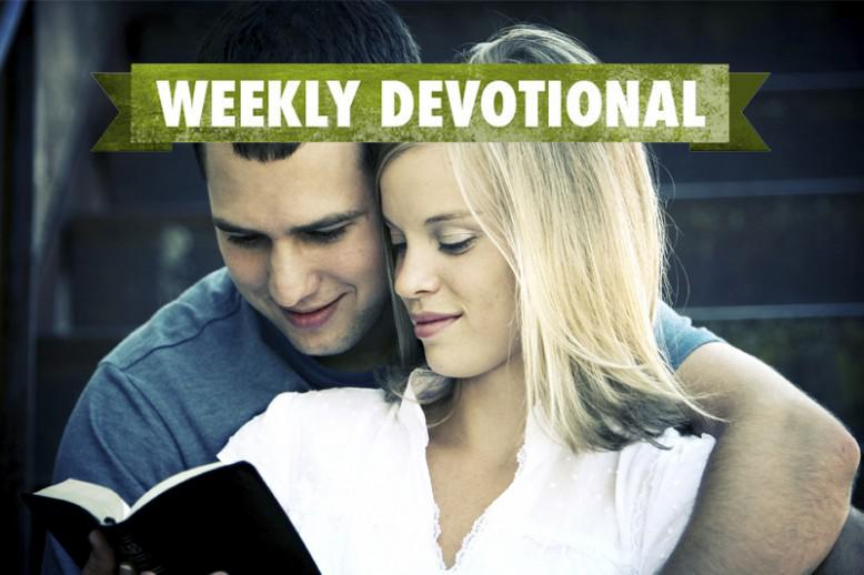A couple reading together under the Weekly Devotional banner