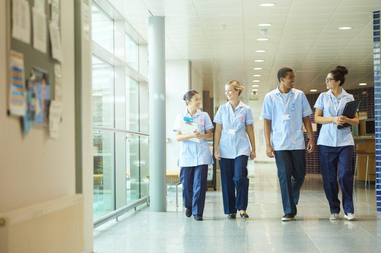 Nurses walking in hallway