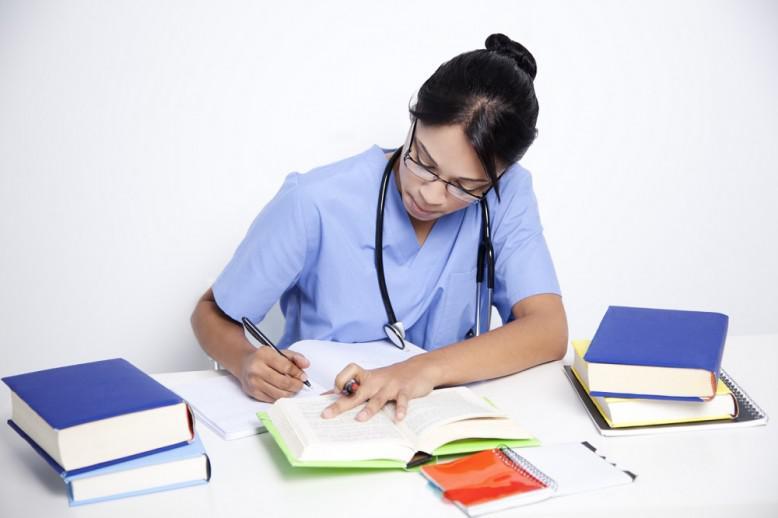 Nursing student studying