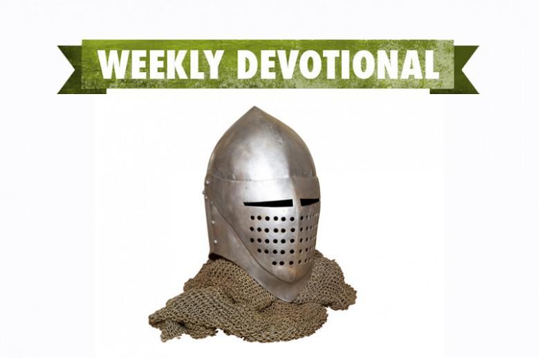 A helmet under the Weekly Devotional banner