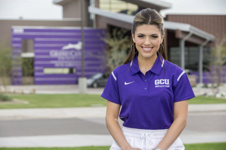 Sarah Mondragon in front of the GCU Golf Course