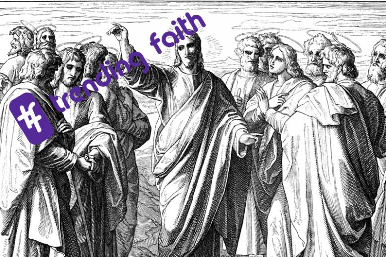 A black and white drawing of Jesus and the Apostles with the Trending Faith logo