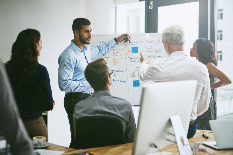 Businessmen giving a presentation