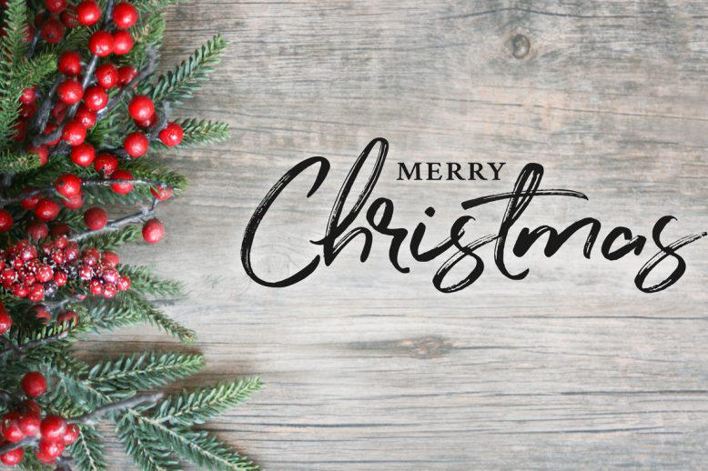 Merry Christmas graphic with berries