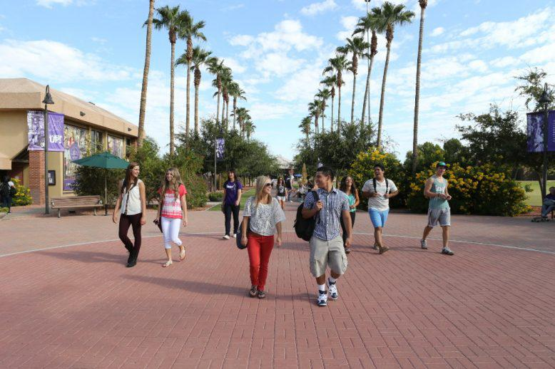 Students walking on GCU's campus