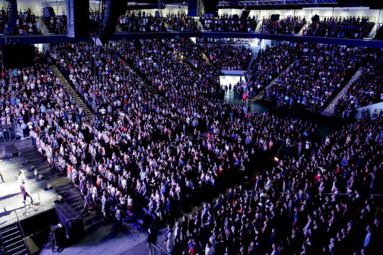 GCU students in the Arena for a Chapel service