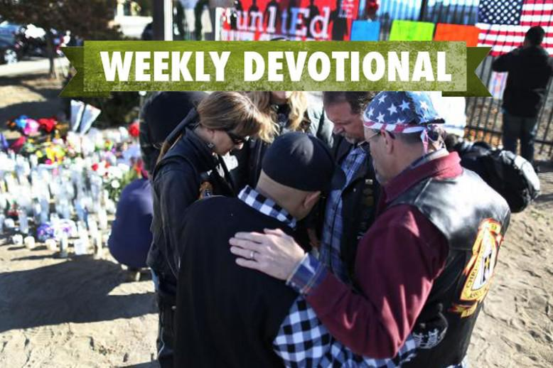 People consoling others under the Weekly Devotional banner