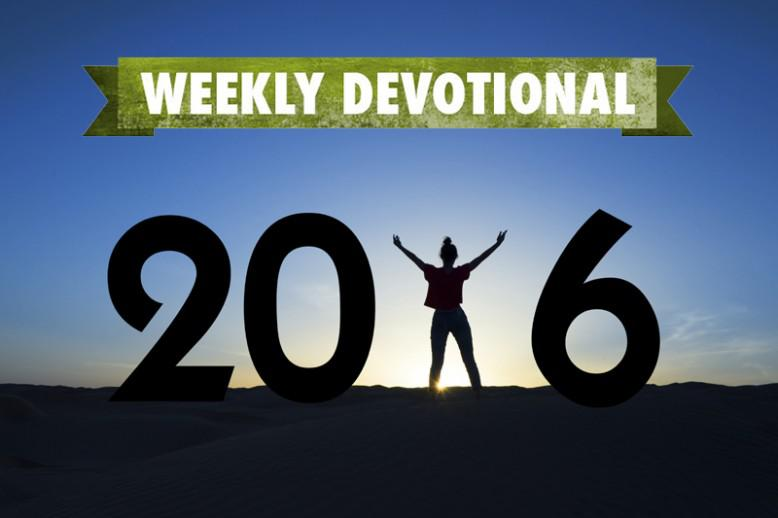 A 2016 sign under the Weekly Devotional banner