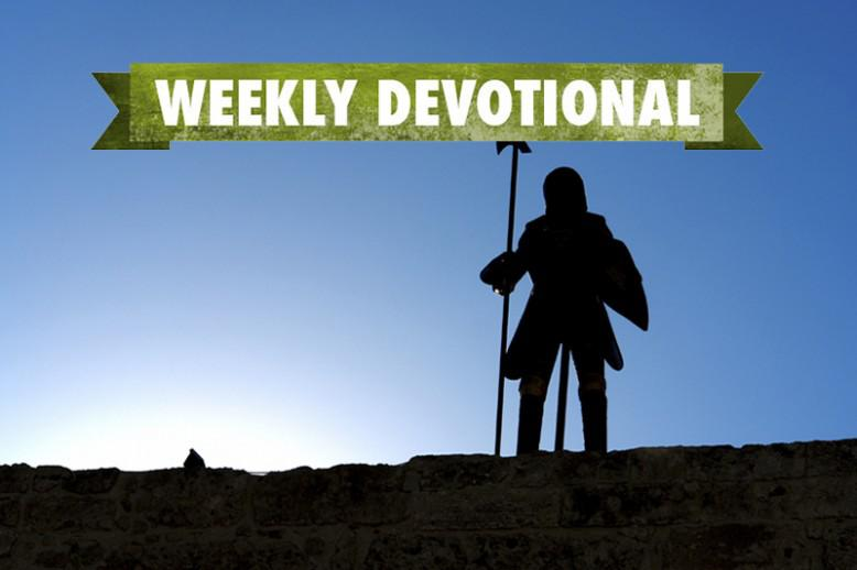 A man in a suit of armor under the Weekly Devotional banner
