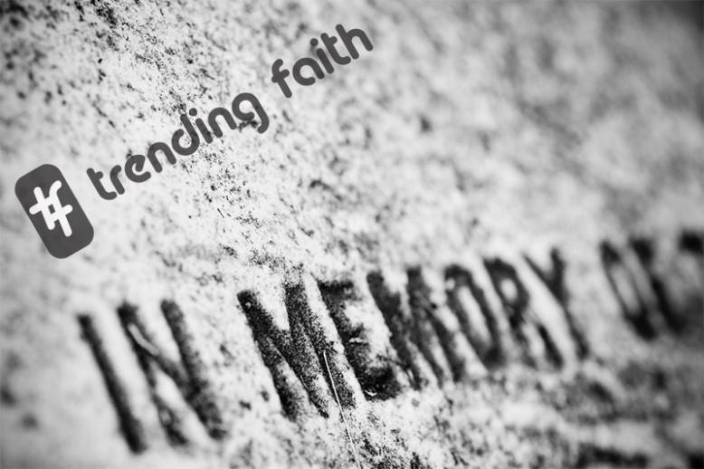 In memory of grave tombstone with hashtag trending faith text on top of it