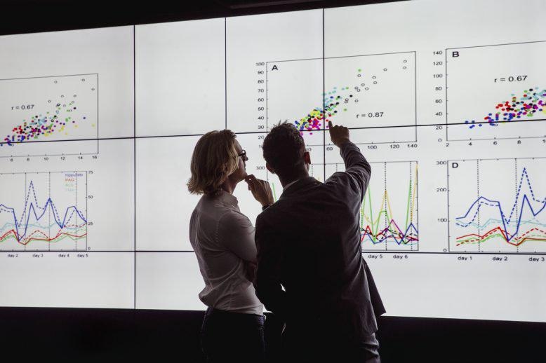 Man and woman Viewing a Large Screen of Information