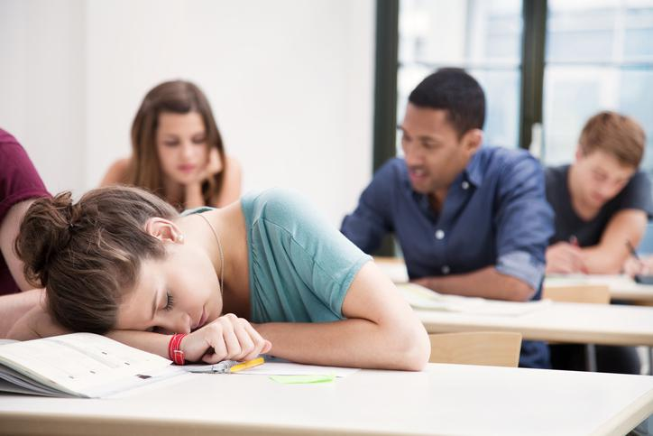 Student sleeping in class