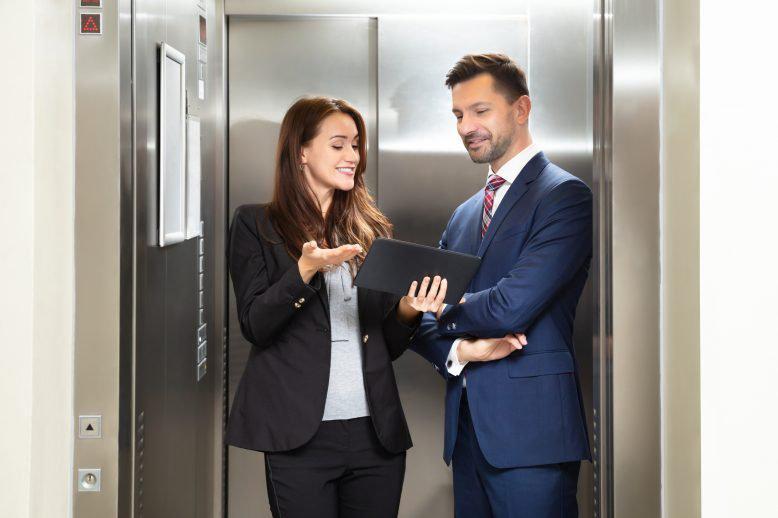 Woman giving an elevator speech