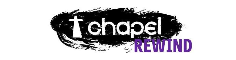 Chapel logo in black and white with rewind text in purple