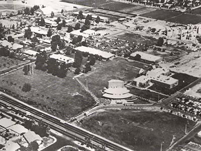 Black and white image of GCU's campus in the 70s