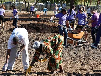 GCU students help Serve the City by cleaning up an area of land