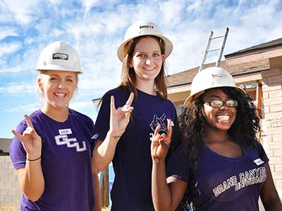 Three GCU students help with Habitat for Humanity