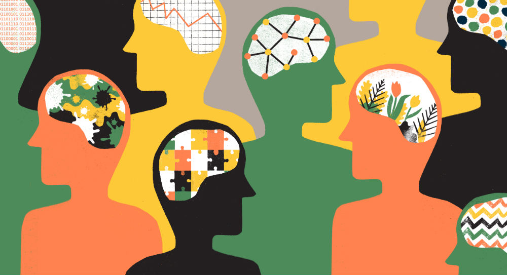 Cartoon outlines of people with different patterned brains for psychology