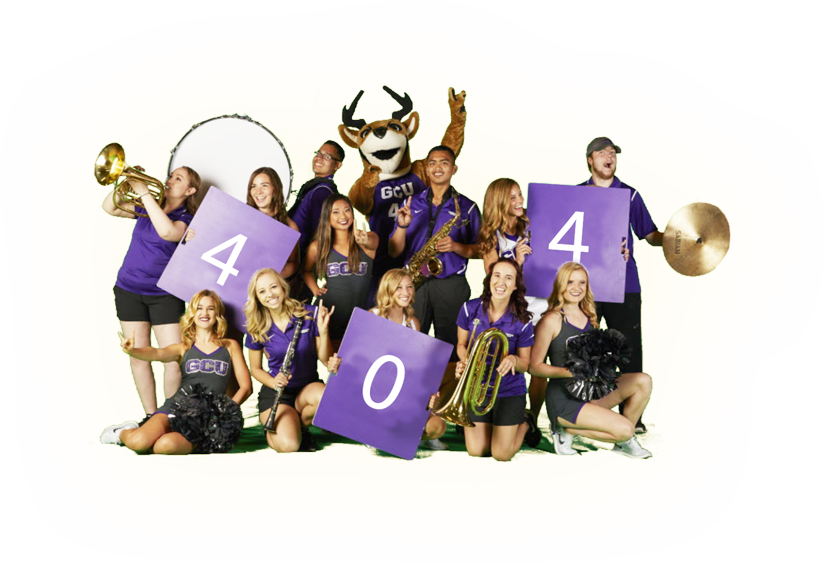 GCU Band members with Thunder Mascot holding 404 Sign